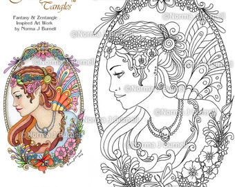 fairy and flowers fairy tangles printable coloring book pages sheets by norma j burnell fairies