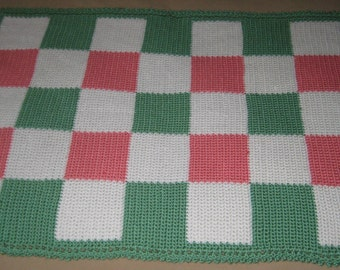 Soft Baby Blanket in Sage, Strawberry and White