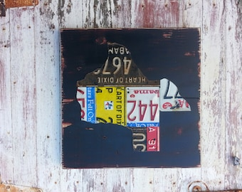 Original United States Map of your STATE - Adventure Road Trip Hiking Awesome Recycled License Plate Art - Salvaged Wood - Wedding