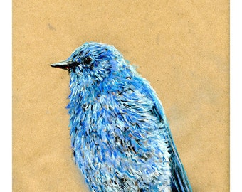5x7 print Bluebird - Bird art mixed media drawing
