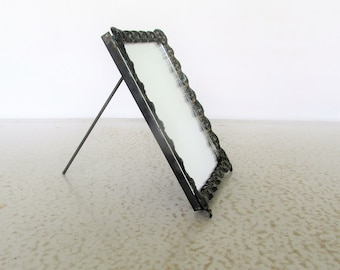 Photo Frame OR Mirror Antique Cast Metal Picture Frame and Mirror Free Standing Convertible