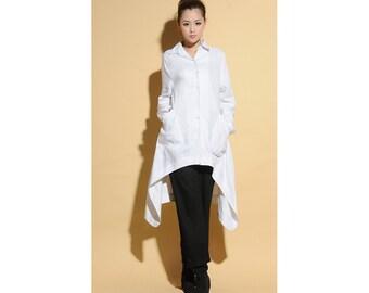 Free Style Asymmetrical Linen Long Blouse/ 34 Colors/ RAMIES