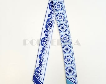 Blue Mosaic and Flowers Twilly Scarf