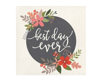 Best Day Ever Napkins - Set of 24 - Paper Party Tableware