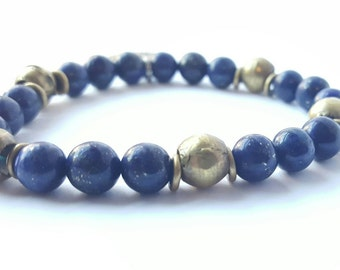 Blue Lapis Brass and Charm Bracelet