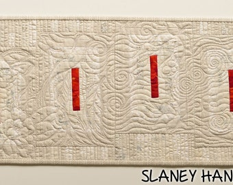 Beige and red textile art, small wall hanging, small table topper, gentle colour quilt, mini textile art