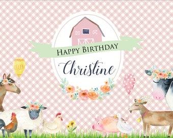 PRINTED BACKDROP 4ftx6ft - Floral Pastel Girly Farm Birthday Banner with Barn and Farm Animals - PINK - Cow, Pig, Sheep, Chicken, Horse