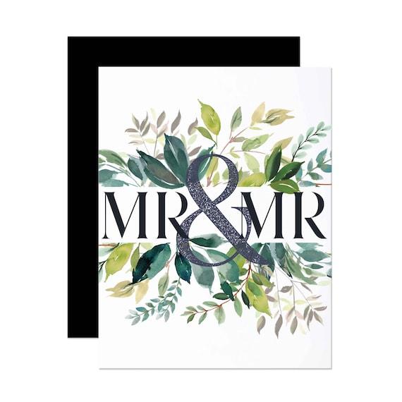Mr. & Mr. Modern Greenery Wedding Card