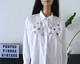 White shirt MISS HELEN colorful embroidery folk characters size L