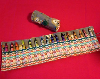 Crayon Roll Up Holder Case Monkeys Jungle Handmade Holds 16 Crayons