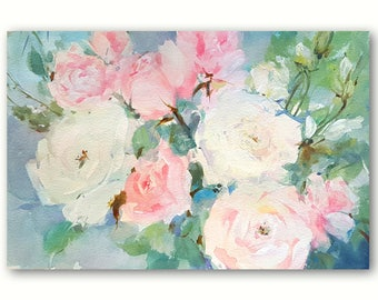 "Watercolor Roses entitled: ""Ever so Lovely"" - An Original Painting by Linda Henry (#QS005)"