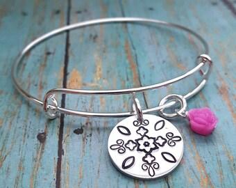 Mandala Bracelet - Mandala Jewelry - Mandala   - Gift for Her - Gift for Women - Bracelet - Flower - Expandable Bangle - Bangle Bracelet