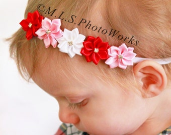 The Valentine's Day Color Palette Headband - Red, Baby Pink & White Flower Line Baby Hair Bow - Satin Valentine's Day Dress Headband