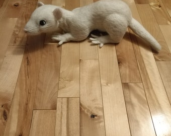 Custom, Made-To-Order Needle Felted Ferret, 100% Wool, Soft Sculpture