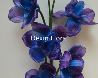 Blue Purple Cymbidium Orchids Natural Real Touch Flowers DIY Centerpieces Decorations Bridal Bouquets Wedding flowers