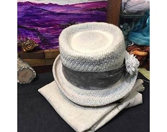 Gray and White Top Hat