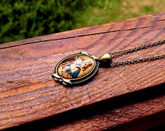Alice in Wonderland Long Antique Gold Necklace (2 Styles)