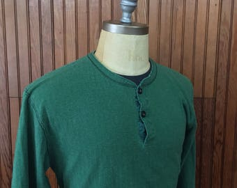 LL Bean Medium River Driver Two Layer Thermal Henley Shirt Men's Vintage Green