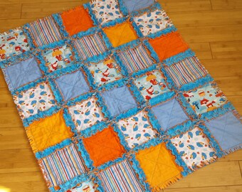 Woodland Picnic Baby Blanket / Raggedy Quilt