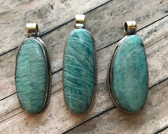 OBLONG Amazonite Pendants, green amazonite, Amazonite pendant, Pendant, pendants, encased amazonite, Nepal