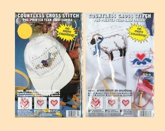 2 Countless Cross Stitch Kits Sheep Blue Birds Any Project Use