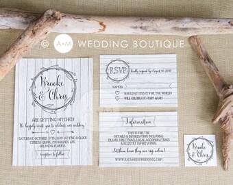 Wedding Invitation Set, Rustic Wedding Invitation, Printable Invitations, digital invitation set : BROOKE