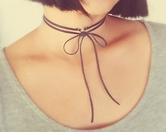 Leather Wrap Choker, Leather Bow Choker, Leather Gold Filled Choker