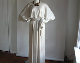 Vintage MISS ELLIETTE Maxi Dress/ Medium 8 10 12  / Goddess Cape Sleeves Dove Grey 1970s