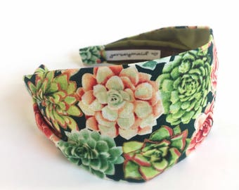 Succulent gift Womens Headbands for women ladies wide Headband Hairband turban Adult headband woman Head band flower unique handmade gift