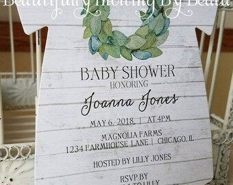 The Original Farmhouse Magnolia Rustic Baby Shower Invitation - Shiplap Baby Shower  -  Custom Baby One Piece  Die Cut Invitation