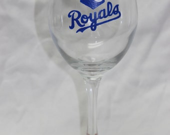 Hand Painted Kansas City Royals Wine Glass