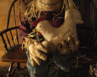 """24"""" Primitive Autumn Scarecrow, Hen, Egg and Crow Doll"""