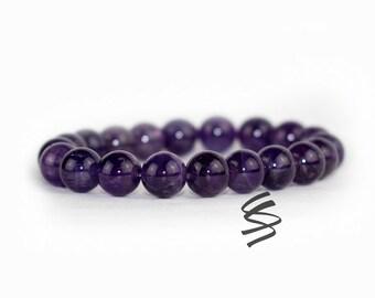 10mm Amethyst Bracelet, February Birthstone, Amethyst Jewelry, Healing Chakra, Natural Amethyst, Meditation Bracelet Quartz Crystal Gemstone