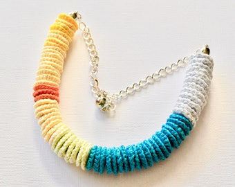 Rope multicoloured crochet necklace - recycled necklace - crochet jewellery - crochet jewelry - beaded rope necklace - statement necklace