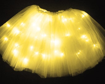 Child Yellow LED Light up Tutu Skirt Fits Toddler 2 to Girls 8