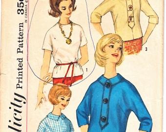 Simplicité 4549 facile de faire ADO Zip dos Blouse w / Kimono manches rabat devant détail col Claudine patron de couture taille 14 années 1960