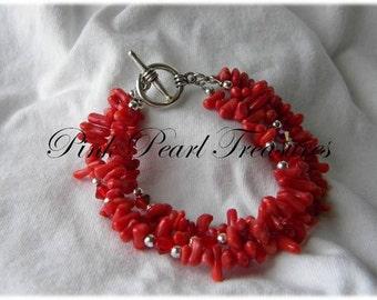 Red coral multi strand braclet