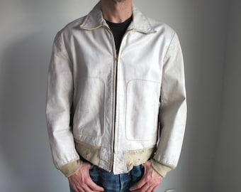 Rare vintage 1940s-50s white leather men's jacket Irvin Forster Size 40. vtg