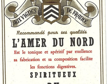 Amer Nord Aperitif Label (North American aperitif  and tonic) Vintage Label, 1930s