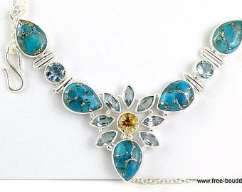 Topaz NECKLACE silver TURQUOISE, turquoise necklace, turquoise pendant, turquoise jewelry, natural gemstone jewelry, kb48.10