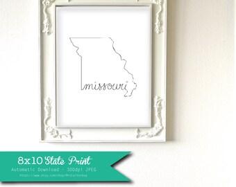 Printable Missouri State Art Print 8x10 Digital Wall Art Gift
