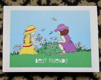 Best friend/ best friends/ friends/ bridesmaid blank greetings card- friend birthday card-friendship gift- friend gift- art- art print-color