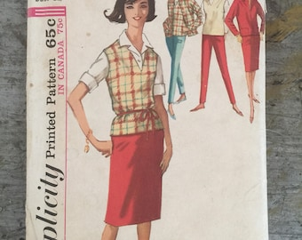 Vintage Simplicity 5075 Misses' Jacket Pants Skirt Puulover Sewing Pattern Size 12 Bust 32