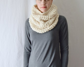 Wool Crochet Cowl Scarf, Acrylic Blend Knit Infinity Scarf