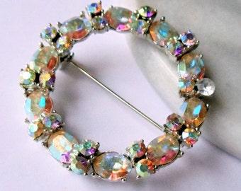 Vintage Dodds AB Rhinestone Circle Brooch, Mid Century Blue Aurora Borealis Rhinestones Silver Tone Wreath Brooch Pin, Estate Jewelry,1960s'