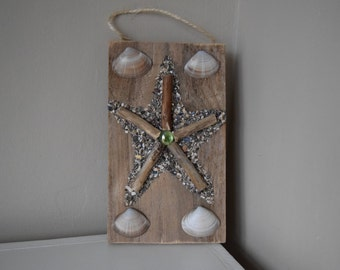 Hand-Crafted Wooden Shell Collage - Starfish