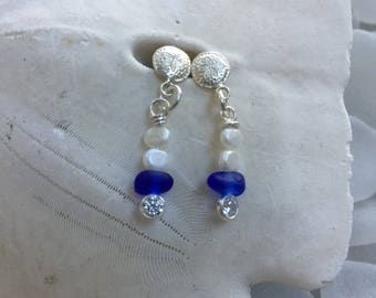 authentic cobalt sea glass earrings, sea glass pearl earrings, blue sea glass earrings, bridal bridesmaid beach wedding