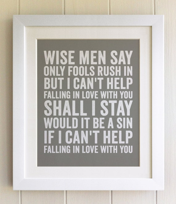 FRAMED Lyrics Print Elvis I cant help falling in love with
