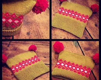Child's Hand Knitted Lime/Bright Pink/White Scandinavian Retro Style Fairisle Bobble Hat with Double PomPom fits 2-4 Year Old