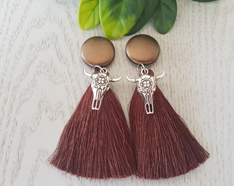Brown Cowgirl Tassel Button Earrings - Hypo-Allergenic